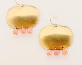 Brass chandelier earrings, big chandelier earrings, gold chandeliers, modern chandeliers, coral jewelry, holiday gift
