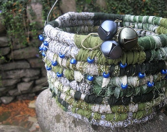 JUNIPER textile art BASKET with beads and bells  HOLiDAY GREENERY SERiES
