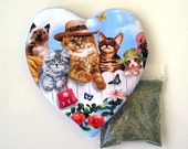 Catnip Heart Toy and Catnip Cats on Fence Refillable