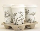 Custom Botanical Drawing - White Ceramic Eco Friendly Travel Mug Double Walled Porcelain with Lid