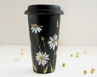 Hand Painted Black CeramicTravel Mug - White & Gold Daisies - Botanical Collection