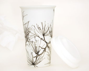 Eco-Friendly Ceramic Travel Mug - Pine Needles, Drawing Collection