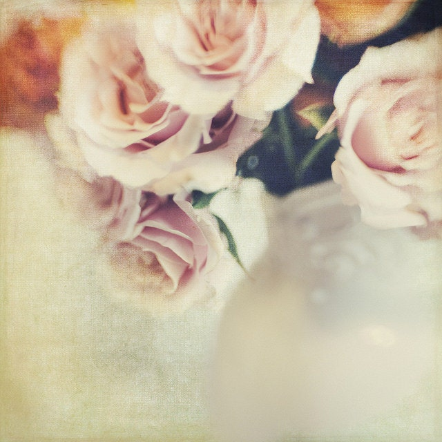 Pink Spring Roses, 8x8 Photo, Bokeh, Modern Wall Decor, Home Decor, Fine Art Phtography