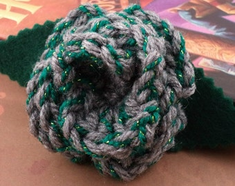 Crocheted Rose Barrette - Gray with Green Sparkles (SWG-HB-HWSL01)