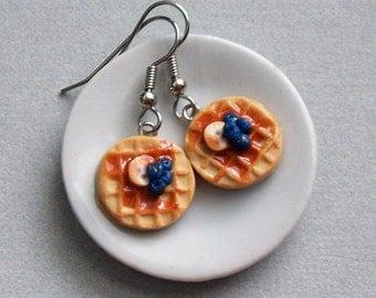 Blueberry Banana Waffles Earrings - polymer clay miniature food jewelry