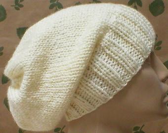Slouchy hat, cream ivory aran winter white, knit toque, winter hat, ski snowboard, skateboard musician, wedding, mens womens hat, chemo cap