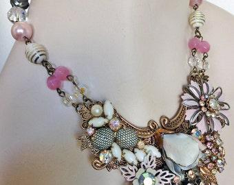 Vintage Aurora Borealis Rhinestone Statement Necklace - One of a Kind - Gray, Pink, White