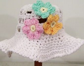 Girls White Summer Sun Hat with  Flower-- Newborn to 5T--#348