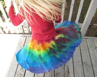 Girls Circle Skirt, Organic Skirt, Rainbow Skirt, Tie Dye Skirt, Twirl Skirt, Organic Cotton Skirt, Organic Twirl Skirt, MADE TO ORDER