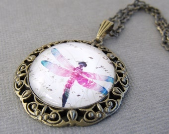 Dragonfly Jewelry, Dragonfly Photo Glass Necklace, Nature Jewelry, Totem Jewelry, Blue, Pink Dragonfly, Insect Necklace