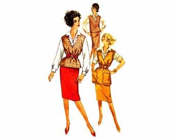 1960s Blouse Slim Skirt V-Neck Top Simplicity 3544 Vintage Sewing Pattern Teens Size 12 Bust 32