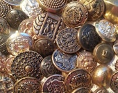 50 Vintage, Gold Color, Metal Buttons. Great Assortment!