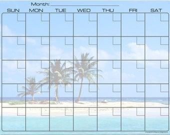 Sandy Tropical Island Beach Dry Erase Monthly Calendar Fridge Magnet #3590