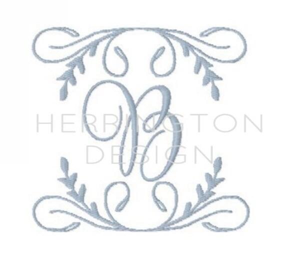 Modern laurel wreath embroidery design instant download