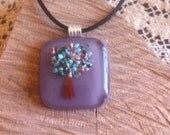 Lavender Glass Pendant With Frit and Enamel Tree and Necklace