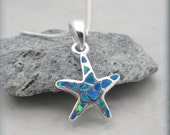 Opal Starfish Necklace Ocean Necklace Beach Jewelry Summer Bridesmaid Gift Sterling Silver (SN810)
