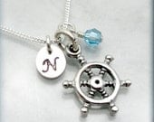 Ships Wheel Necklace Birthstone Jewelry Personalized Initial Sterling Silver Charm Jewelry (SN767)