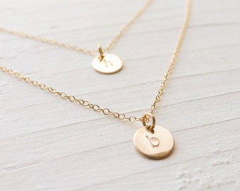 Double Strand Necklace Goldfilled 2 Initial Mother Pendants Two Initial Charm Monogram Delicate Layered