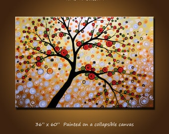 """Extra Large Wall Art Extra Large Abstract Tree Painting ... 36"""" x 60"""" ... """"Time to Blossom"""", Free US shipping"""