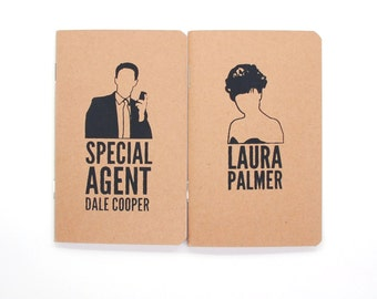 Dale Cooper & Laura Palmer - Screen Printed Pocket Books