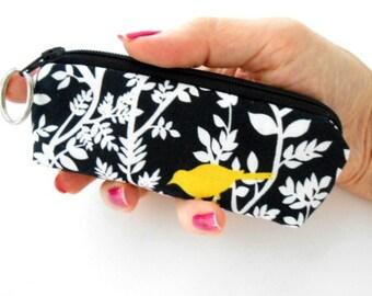 Mini Key Chain Zipper Pouch ECO Friendly Padded Lip Balm Case NEW Yellow Bird on Black Hedge