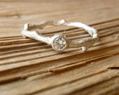 Silver Moissanite Branch Ring