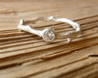 Silver Moissanite Branch Ring