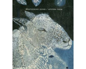 3 Art Cards of Blue Sheep and Lamb