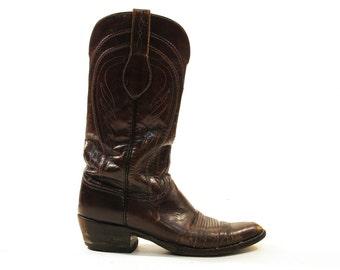 SALE Vintage Cowboy Boots / Mahogany Brown Western Riding Boots / Men's Size 10.5 / Women's Size 12