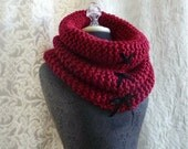 The Corset Cowl in cherry red