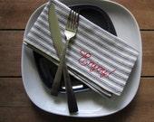 "SALE: set of 4 ""Enjoy!"" napkins, hand-embroidered SLIGHTLY imperfect."