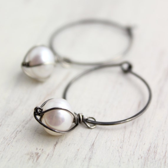 Caged White Pearl Hoop Earrings Oxidized Silver