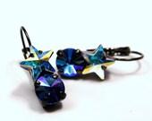 Crystal Star Drop Earrings Classic Sparkling Sapphire Blue Clear White Arora Borealis AB Swarovski Dark Oxidized Gunmetal Finish Diamond Hot