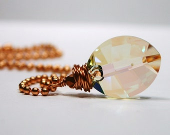 Luminous Green Pure Leaf Necklace Swarovski Crystal Pastel Rainbow Translucent Glowing Oval Pendant Bright Copper Wrapped Feminine Flora