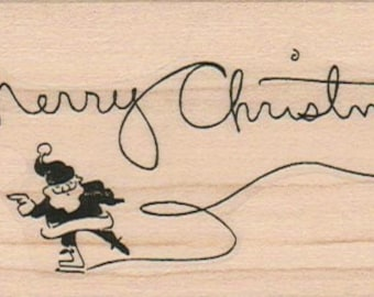 Rubber stamp Merry Christmas Santa skating  wood mounted, unmounted, cling stamp no.161