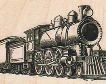 vintage steam Train rubber stamp  steampunk unmounted, cling stamp or wood mounted  14929