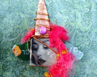 Goddess brooch by Mary Vogel Lozinak  Pinkflamingo61 Altered Art Assemblage Brooch Artisan Jewelry