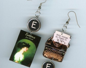 Book Cover Earrings - Emma Jane Austen quote - asymmetrical mismatched - typewriter key jewelry - literary readers librarian gift