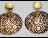 CARAVAN - Handforged Embossed Antiqued Moroccan Tile Statement Earrings