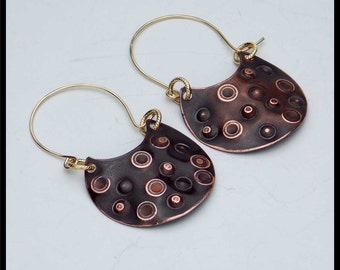 LIMA - Handforged Oxidized Heavily Textured Copper and 14KT GF Earrings