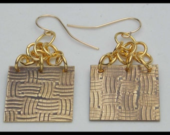 BRONZE BASKETWEAVE - Handforged Embossed Antiqued Bronze & 14KT GF Earrings