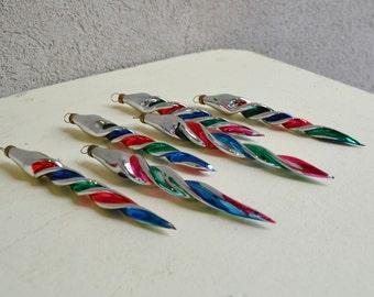 Vintage Icicle Mercury Christmas Ornaments, Set of 6,