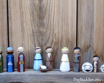 Christmas Nativity Set : includes Shepard, Wise Man, Mary, Joseph, Baby Jesus, Angel, Sheep Perfect for Holiday Play Children