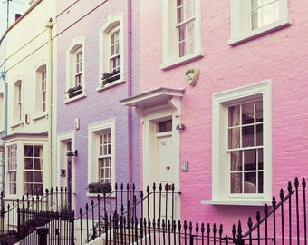 "Chelsea Houses, London Photography, London Art Print, Pastel Wall Art, Travel Photography, Purple, Pink Wall Decor  ""Chelsea Girls"""