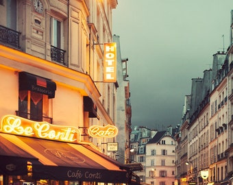 Paris Cafe at Night, Neon Lights in St Germain Paris Photography, Orange and Blue, City Street, Paris Decor - Nuit Neon