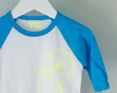infant baseball tee  18-24 MONTHS neon BLUE baby long sleeve bicycle shirt bike