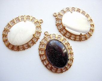 Lovely Lot of Three Vintage Mother of Pearl and Semiprecious Purple Sandstone Pendants
