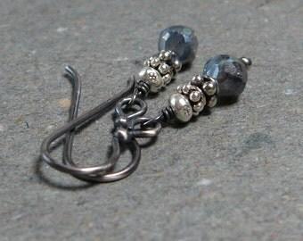 Mystic Labradorite Earrings Petite Earrings Minimalist Earrings Oxidized Sterling Silver Earrings