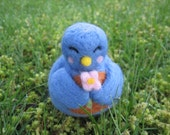 Bluebird Kawaii Felted Animal Holding Flower