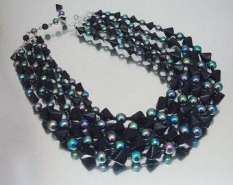 Black Glass Necklace 4 Strand Triangle Round Bugle Beads Aurora Borealis Vintage Unused